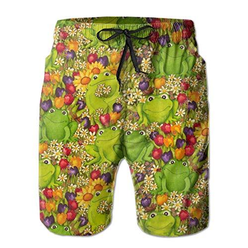(Men's Comfort Cargo Short for Beach Outdoor Surf Elastic Waistband Fast Dry Drawstring Board Shorts Summer Underwear - Frogs Green)