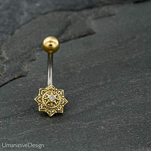 (Flower Star Mandala Belly Button Ring, Gold Brass & Surgical Steel Boho Tribal Indian Navel Piercing, 14g, Handmade Body Jewelry )