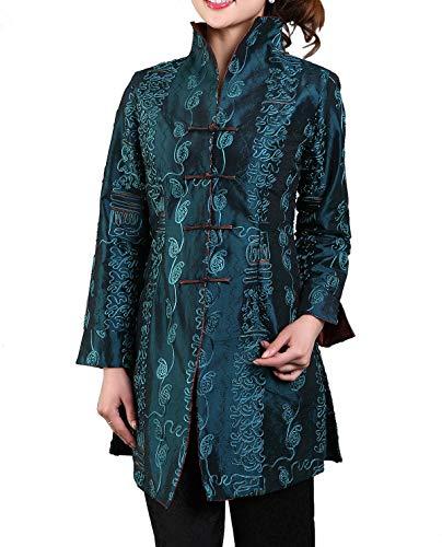 Bitablue Chinese Jacket with Leafy Embroidery Pattern (Medium, Dark Teal)