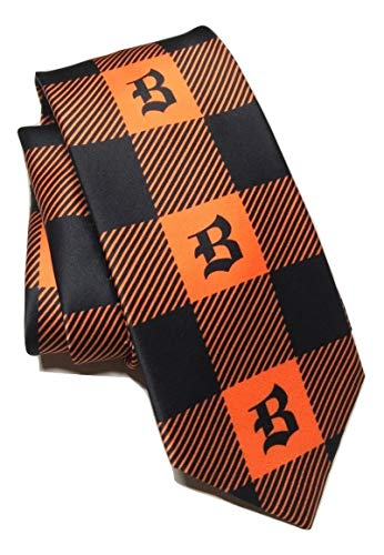 Brioni Orange/Black Check Pattern Hand Made Italian Silk Tie (Brioni Tie Handmade)
