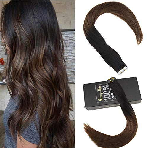 Sunny 20inch Tape in Ombre Black Hair Extensions Remy Hair #1b Natural Black to Dark Brown Hair Extensions Tape in Human Hair Extensions Ombre 20pc 50g/pack