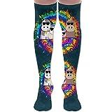 Go Vegan Animal With Cool Glasses Women's Over The Knee High Leggings Knee High Socks Thigh-High Stockings