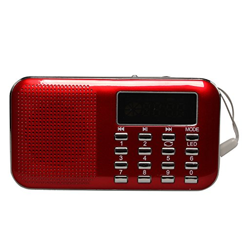 Timorn Mini Portable Digital Stereo Sound Fm Radio Support Tf Card   Usb Disk With Led Screen Display Suitable For Mobile Phone   Pc Computer Mp3 Player Speaker  Red