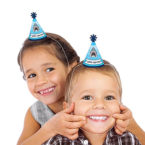 Shark Zone Set of 10 Mini Cone Jawsome Shark Party or Birthday Party Hats Small Little Party Hats