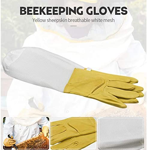 Creacom 養蜂用グローブ 防護グローブ 養蜂用 長袖 防護手袋 高品質材質 養蜂用手袋 駆除対策 虫よけ 草刈り 養蜂 多機能 ガーデニング 養蜂用 園芸作業用手袋
