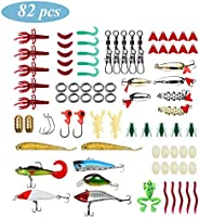 82 Pcs Fishing Lures, Fishing Lure Set with Tackle Box, Mixed Hard Baits Soft Baits Including Plastic Worms, H