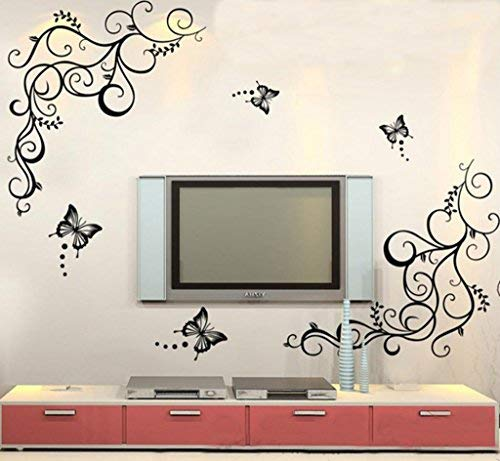 Decals Design 'Lovely Butterflies' Wall Sticker (PVC Vinyl, 90 cm x 30 cm, Black) Wall Stickers at amazon