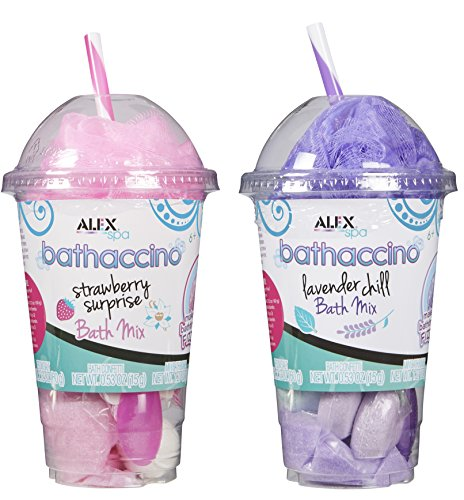 Alex Spa Bathaccino Bath Bombs and Confetti, 2 Pack, Pink and Purple