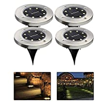 Ground Solar Lights, leegoal(TM) Upgraded Waterproof Outdoor Solar Landscape Lighting with 8 LED, Dark Sensing for Driveway, Pathway, Patio, Lawn, Square, Pool, Yard(Warm White,4Pcs)