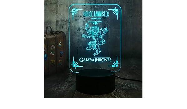 Yddlie House 3D LED Night Light Game Una canción de Hielo y Fuego Lámpara de Escritorio Decoración del Dormitorio Fans Boy Toy: Amazon.es: Hogar