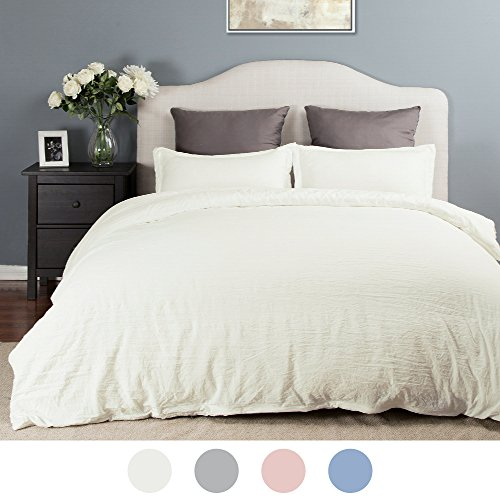 Duvet Cover Set with Zipper Closure-Solid Vintage Ivory,King (104