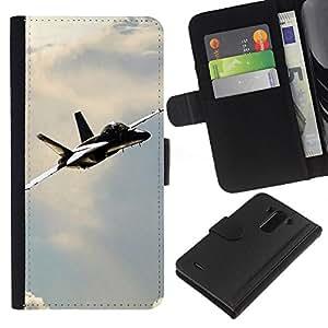 JackGot ( Navy F Hornet ) LG G3 la tarjeta de Crédito Slots PU Funda de cuero Monedero caso cubierta de piel