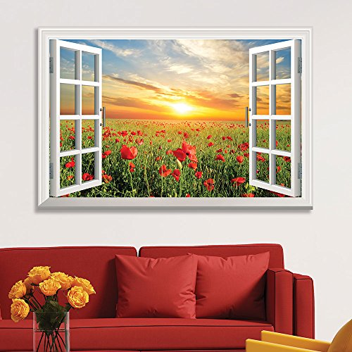 Window View Red Poppy Flower Field at Sunset
