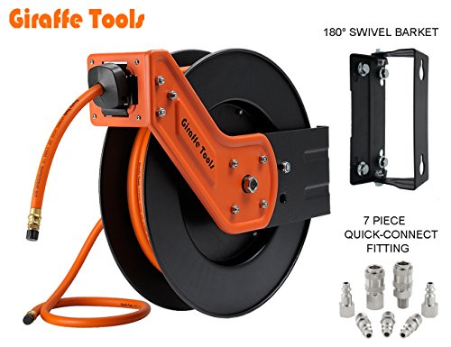 Giraffe Air Hose-Reel with 3/8 In. x 25 Ft Hybrid Air Hose,Auto Retracble,300PSI Heavy Duty-Reel from Giraffe Tools