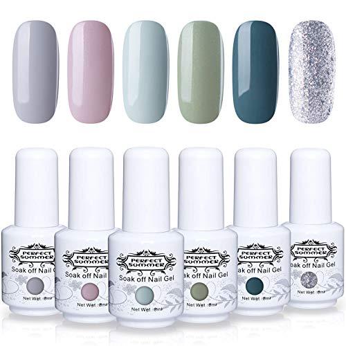 Perfect Summer Gel Nail Polish Set - 6PCS Popular Color Gel Varnish Soak Off UV LED Manicure Nail Starter Kit 8ML 096