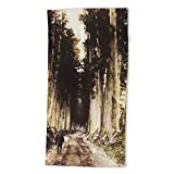 Society6 Beach Towel, Alone in The Woods of Nikko by seijiart, Polyester-Microfiber Front, White Cotton Terry Back