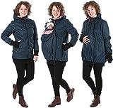 GoFuture Damen Tragejacke für Mama und Baby 4in1 Känguru Jacke Umstandsjacke Concordia Shell GF2070XF5 Marine mit rotweißem Karo Gr. 42