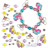 Rainbow Unicorn jewelry Making Charm Bracelet Craft Kits for Children to Make and Wear (Pack of 3)