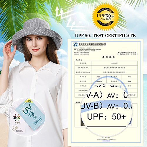 Fancet Foldable Sun Bucket Hat Women Rolled Up Brim Boating Hiking UV Protection Bonnie Gardening Grey by Fancet (Image #2)