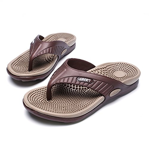 Scurtain Mens Massage Occasionnel Flip Flop Pantoufles Confortable Piscine Plage Sandale Marron
