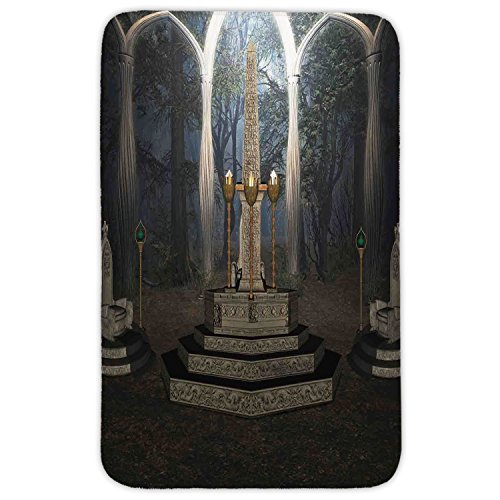 Rectangular Area Rug Mat Rug,Gothic,The Ritual Scenery in Secret Forest Obelisk Between Marble Thrones with Skull Engraving,Grey,Home Decor Mat with Non Slip - Easy Obelisk