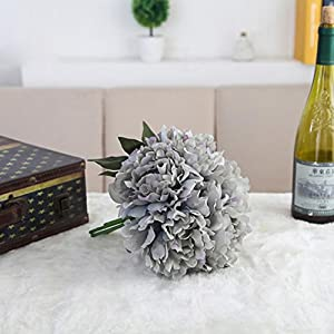 YJYdada Artificial Silk Fake Flowers Peony Floral Wedding Bouquet Bridal Hydrangea Decor (Blue) 79