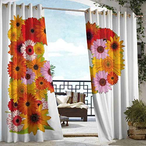 DILITECK Extra Wide Outdoor Curtain Letter P Flower Arrangement with Gerbera Daisies Colorful Palette Alphabet P Symbol Print Waterproof Patio Door Panel W84 xL72 Multicolor ()