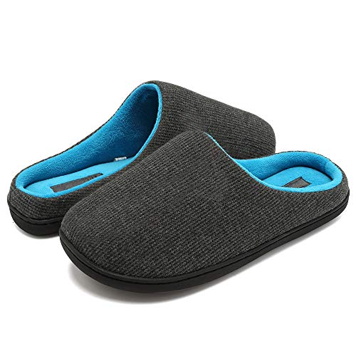 HuangWeida Two-Tone Memory Slippers for Man Foams Shoes Fluffy Slippers (13-14 US Men's) Grey
