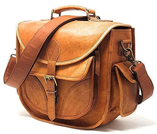 DSLR Leather Camera Bag - Travel Vintage Crossbody Shoulder