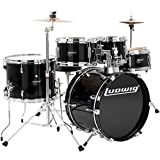 Ludwig LJR-106 Junior 5 Piece Drum Kit with Throne, Cymbals, Hardware - Black