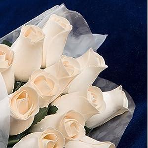 """""""Baker's Dozen"""" Bouquet of 13 Ivory/White Wood Roses 1"""