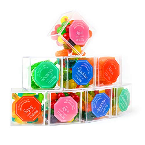 (Thoughtfully Gifts, Luxury Gummy Candy Bento Box, Contains 8 Themed Candy Cubes Filled with Gummy Bears, Apple Rings, Gummy Worms, Fruit Sours, and More!)