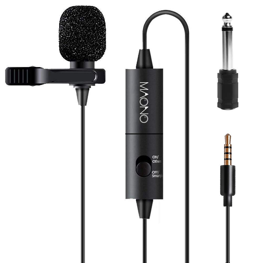 Maono AU-100 Condenser Clip On Lavalier Microphone with 6 Meters Audio Cable product image