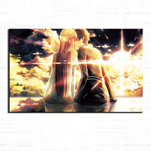 KV0RTDS Espada Arte Online Poster Lienzo Arte Arte Cuadro Cuadro Cuadro Cuadro Cuadro Dormitorio Salon Decoracion de la Pared Pintura Amanecer Beso Posters Fondo Imagen 90 x 60 cm Enmarcado