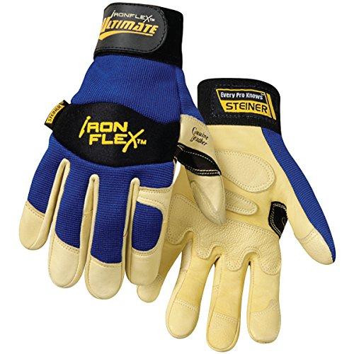 Steiner 0914-X Ironflex Work Gloves, Ultimate Grain Goatskin Blue Spandex,
