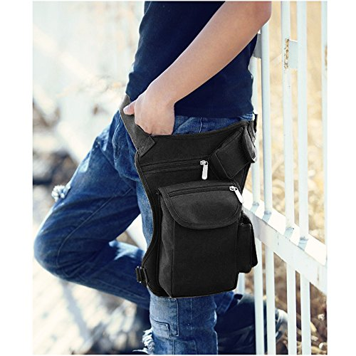 Canvas Drop Leg Bag Sports Racing Waist Bag Pack for Hiking Cycling Vacation Black by Groupcow (Image #3)