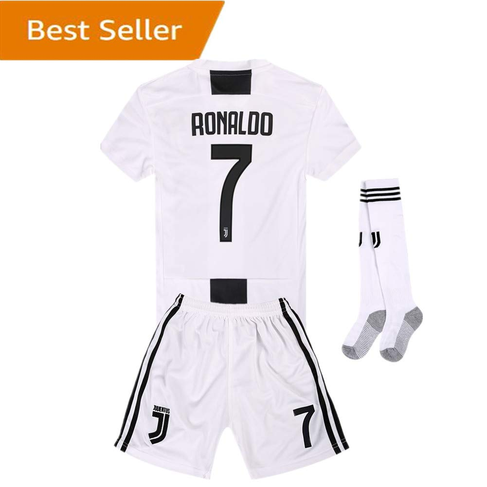 8cb9da06d Newkidsjs Juventus #7 Ronaldo Kids and Youth Soccer Jersey & Shorts & Socks  2018-