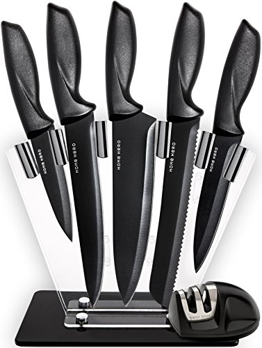 Chef Knife Set Knives Kitchen Set - Kitchen Knives Set Kitchen Knife Set with Stand - Plus Professional Knife Sharpener - 7 Piece Stainless Steel Cutlery Knives Set by HomeHero - Black Knife Set Ceramic