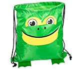 Cute Frog Head 13.5 x 15 inch Fabric Novelty Drawstring Shoulder Backpack