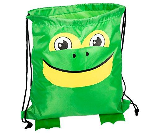 Cute Frog Head 13.5 x 15 inch Fabric Novelty Drawstring Shoulder Backpack