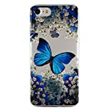 for iPhone 7 Case, for iPhone 8 Cover, CrazyLemon Ultra Thin Transparent Soft TPU Clear Silicone Gel Skin Shell 3D Creative Pattern Design Durable Shock Proof Scratch Resistant Rubber Protective Cover Case for iPhone 7 / iPhone 8 4.7 inch - Blue Butterfly