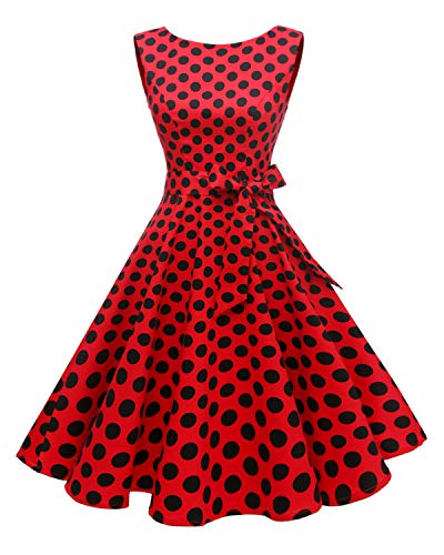 (Hanpceirs Women's Boatneck Sleeveless Swing Vintage 1950s Cocktail Dress Redblackdot 2X)