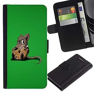KingStore / Leather Etui en cuir / Sony Xperia Z1 Compact D5503 / Rata Roedor gris de la historieta Animación Cute Food