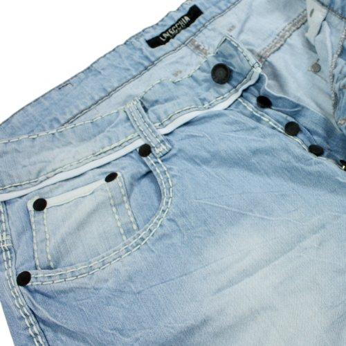 Lavecchia Herren Denim Jeans in Übergröße stark verwaschen in iceblau