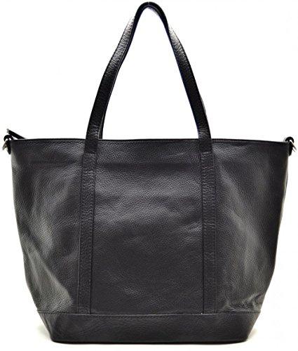 Oh My Bag Sac à main en cuir italien pour femme Shopper Sac à main, à bandoulière et à bandoulière Modèle Irupu New Collection Noir