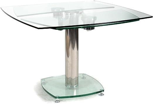 But Table Carrée Avec Allonges Plateau Verre Transparent