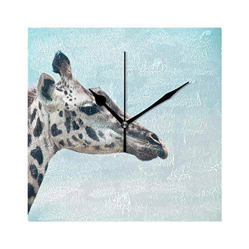 Dozili Giraffe Bluesky Round Wall Clock Arabic Numerals Design Non Ticking Wall Clock Large for Bedrooms,Living Room,Bathroom