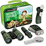 Explorer Kit for Kids - Camping Gear & Outdoor Exploration Gift - Gifts for 4-7 Year Old Boys & Girls - Inc: Binoculars, Fan, Magnifying Glass, Crank Flashlight, 5-in-1 Multi Tool & Beautiful Case