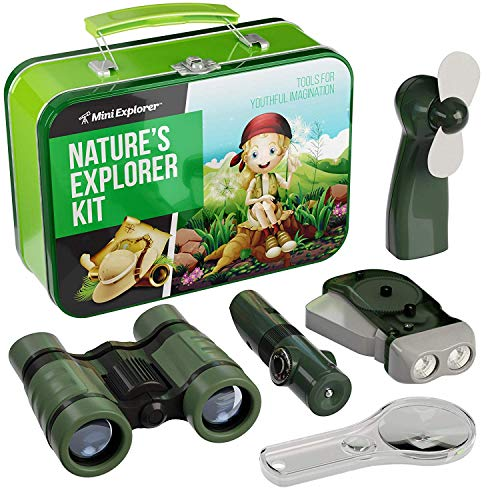9-in-1 Outdoor Exploration Kit for Young Kids - Tin Case with Binoculars, Fan, Magnifying Glass, Hand-Crank Flashlight, and 5-in-1 multi-tool, Storage Tin Case]()