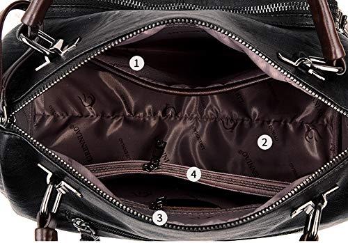 Mode Les Souple Rétro M3m Épaule Grande Main Gray Femmes En À Bandoulière Capacité Sac Cuir Pour q4xxUtw1